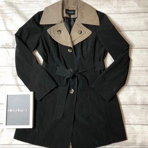 London Fog Womens Medium Black & Tan Trench Coat